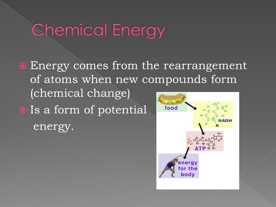 Chemical Energy Energy comes from the rearrangement of atoms when new compounds form (chemical change)