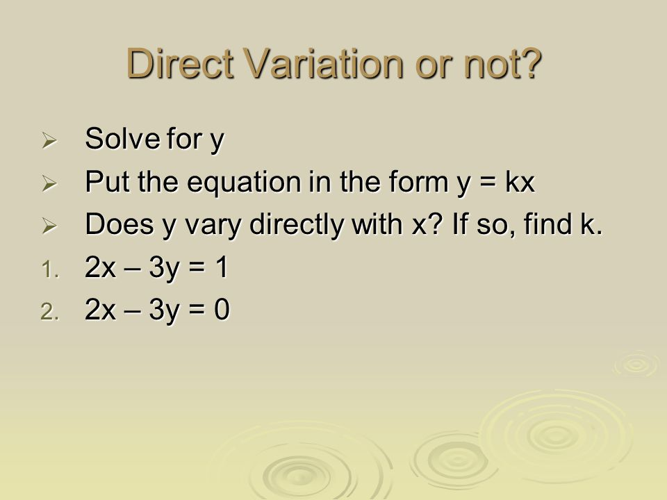Direct Variation or not