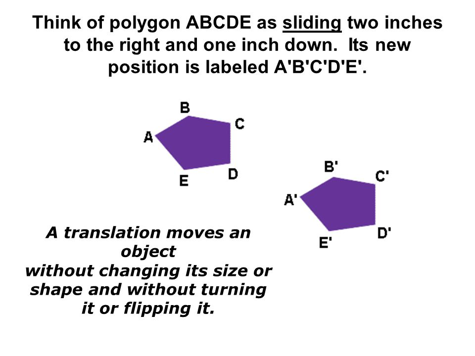 Think of polygon ABCDE as sliding two inches to the right and one inch down. Its new position is labeled A B C D E .