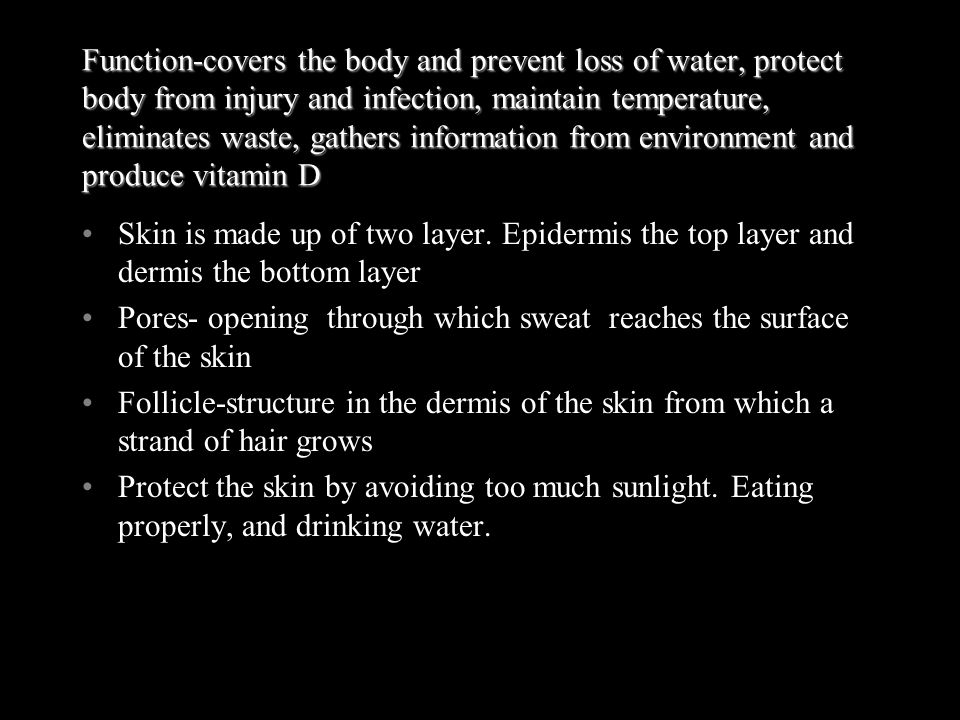 Function-covers the body and prevent loss of water, protect body from injury and infection, maintain temperature, eliminates waste, gathers information from environment and produce vitamin D