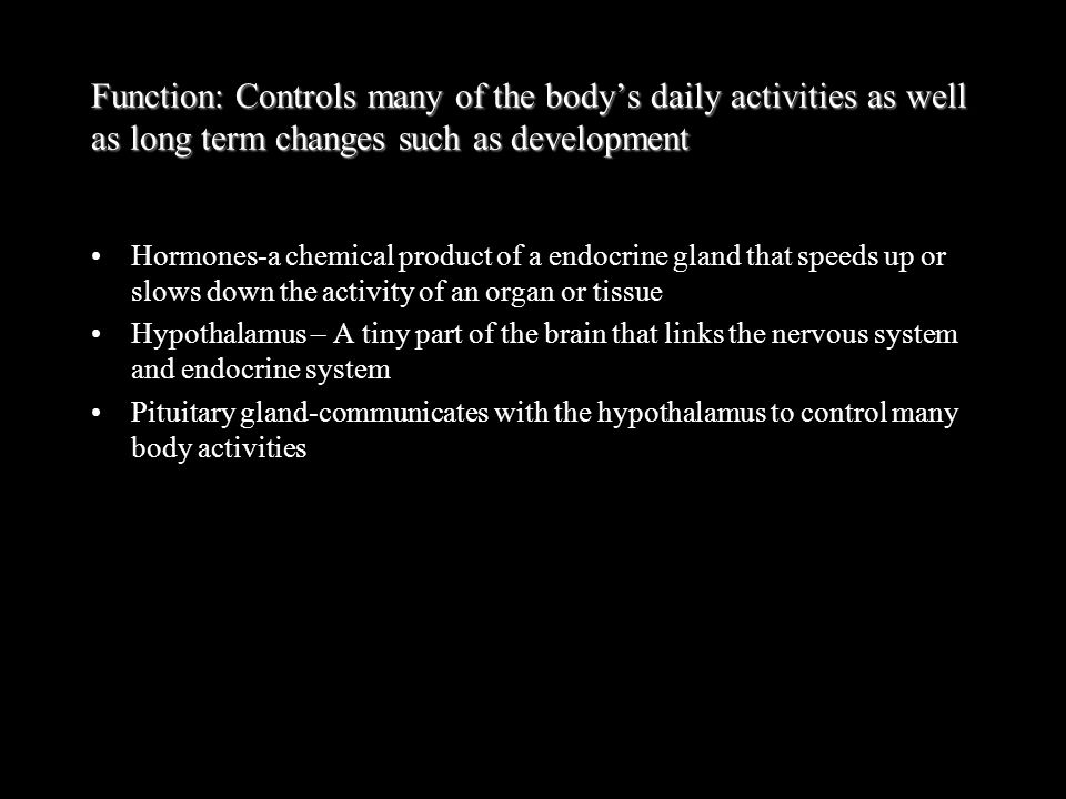 Function: Controls many of the body's daily activities as well as long term changes such as development
