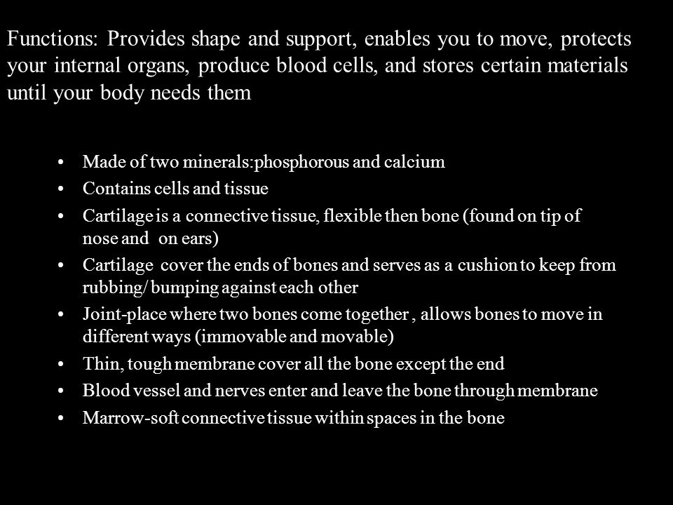 Functions: Provides shape and support, enables you to move, protects your internal organs, produce blood cells, and stores certain materials until your body needs them