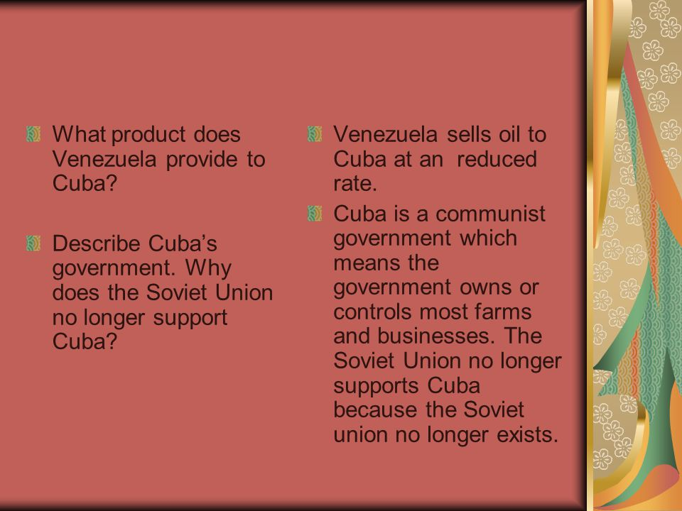 What product does Venezuela provide to Cuba