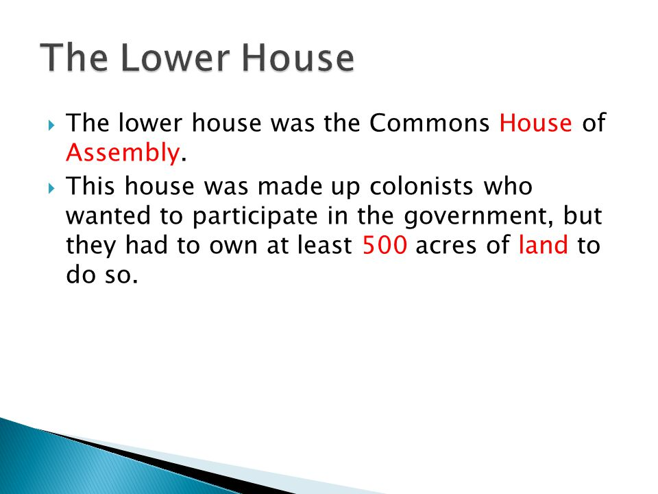 The Lower House The lower house was the Commons House of Assembly.