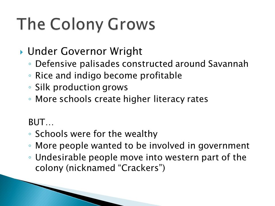 The Colony Grows Under Governor Wright