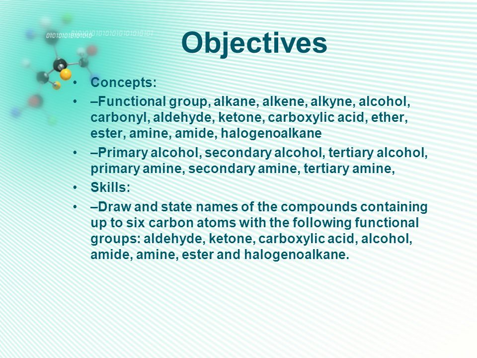 Objectives Concepts: