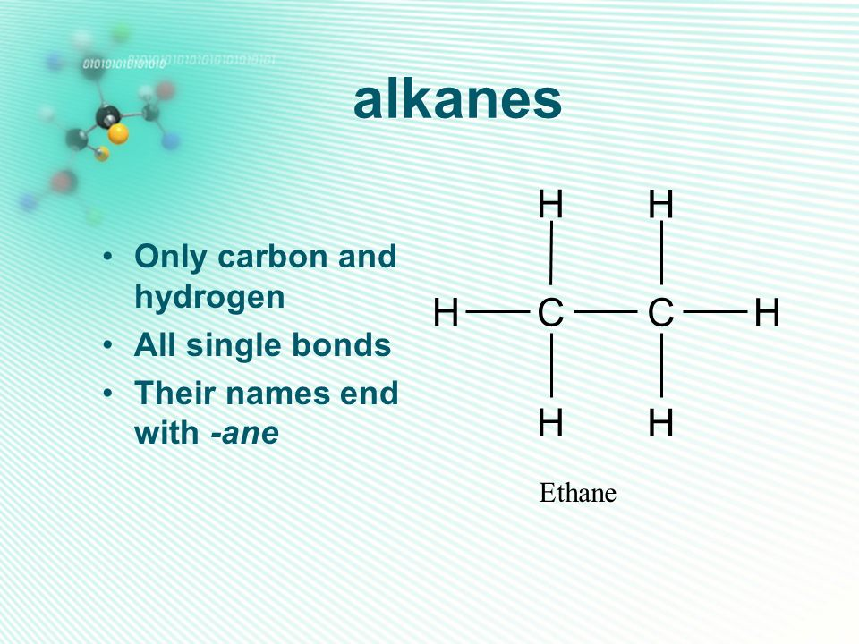 alkanes C H Only carbon and hydrogen All single bonds