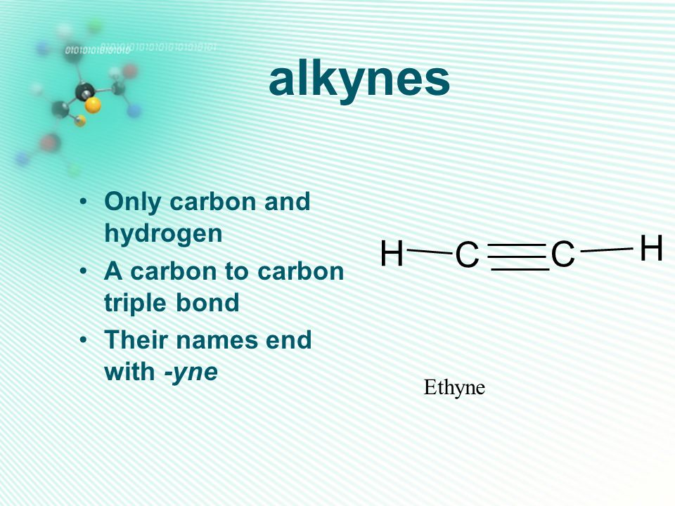 alkynes H C Only carbon and hydrogen A carbon to carbon triple bond