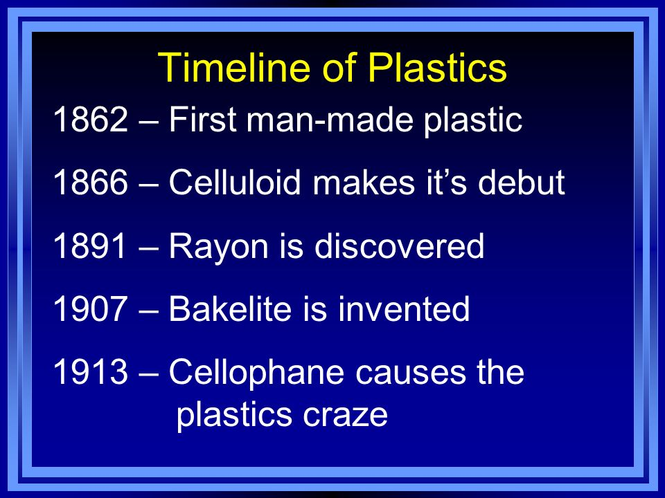 Timeline of Plastics 1862 – First man-made plastic