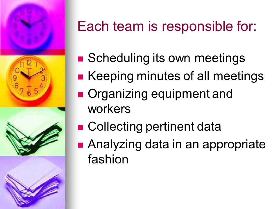 Each team is responsible for: