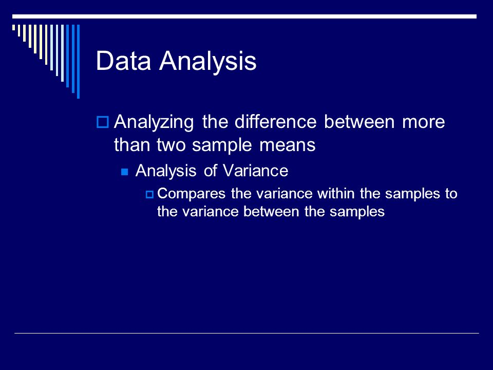 Data Analysis Analyzing the difference between more than two sample means. Analysis of Variance.