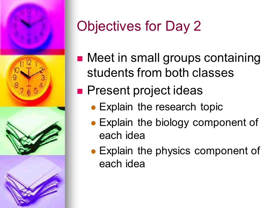 Objectives for Day 2 Meet in small groups containing students from both classes. Present project ideas.