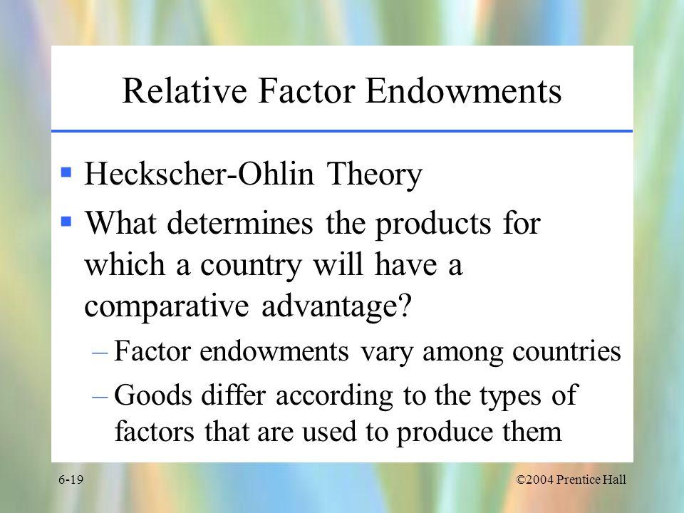Relative Factor Endowments