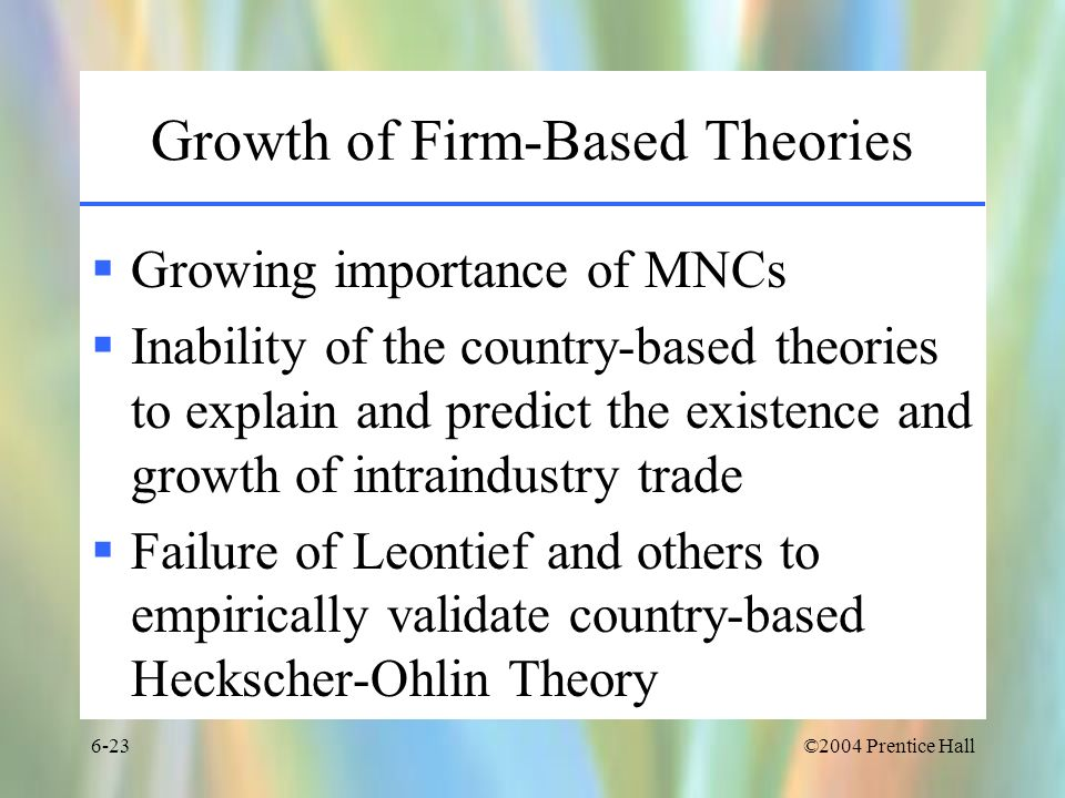Growth of Firm-Based Theories