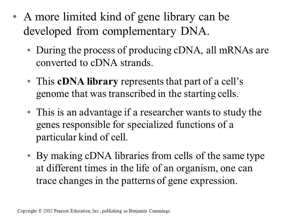 A more limited kind of gene library can be developed from complementary DNA.
