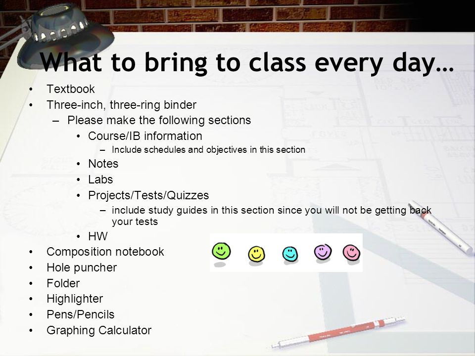 What to bring to class every day…