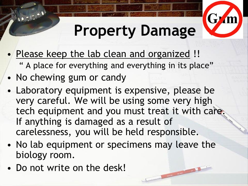 Property Damage Please keep the lab clean and organized !!