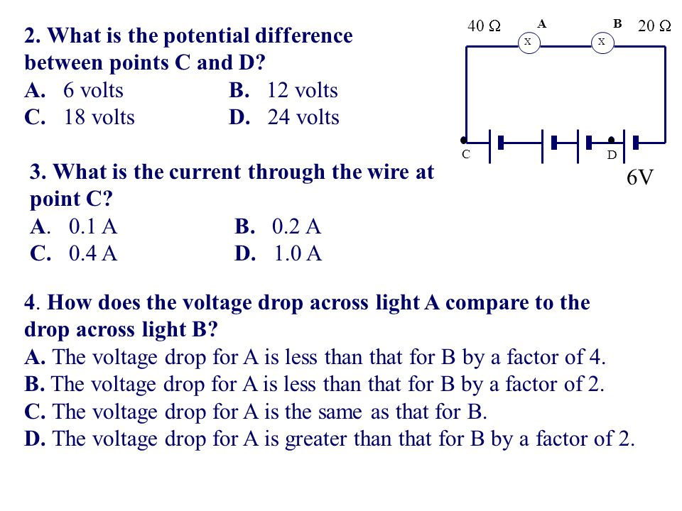 2. What is the potential difference between points C and D