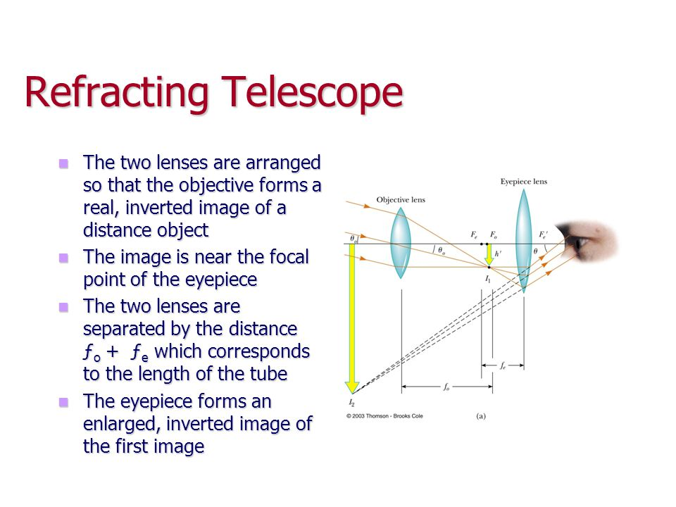 Refracting Telescope The two lenses are arranged so that the objective forms a real, inverted image of a distance object.
