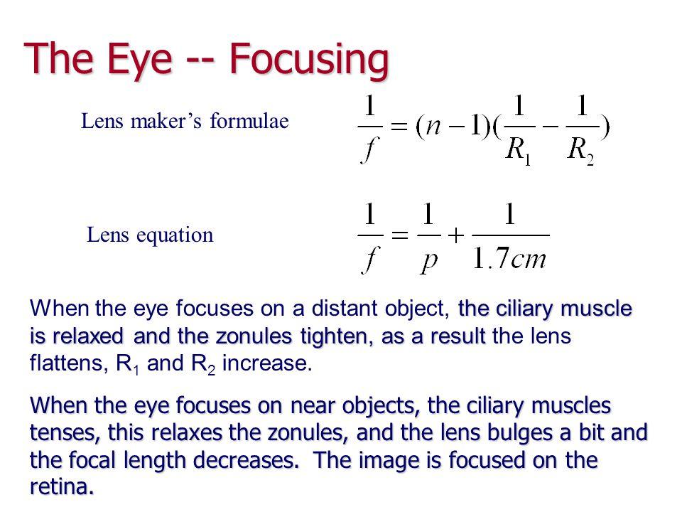 The Eye -- Focusing Lens maker's formulae Lens equation