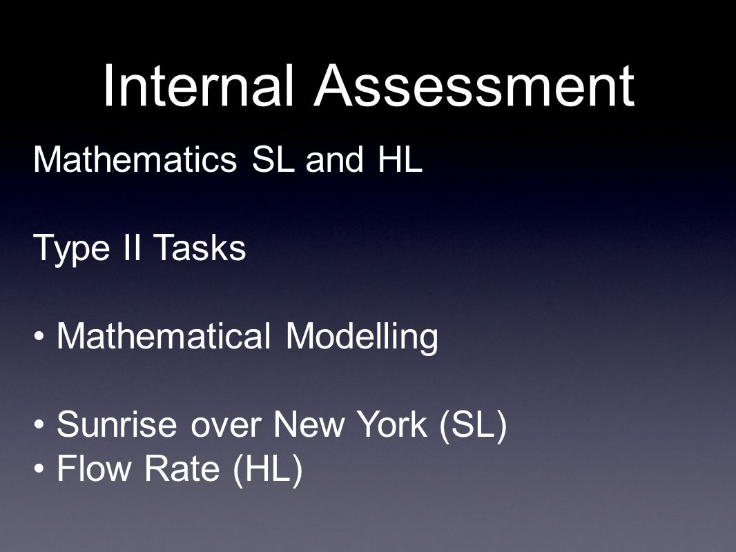 Internal Assessment Mathematics SL and HL Type II Tasks