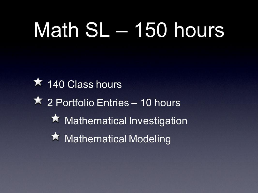 Math SL – 150 hours 140 Class hours 2 Portfolio Entries – 10 hours
