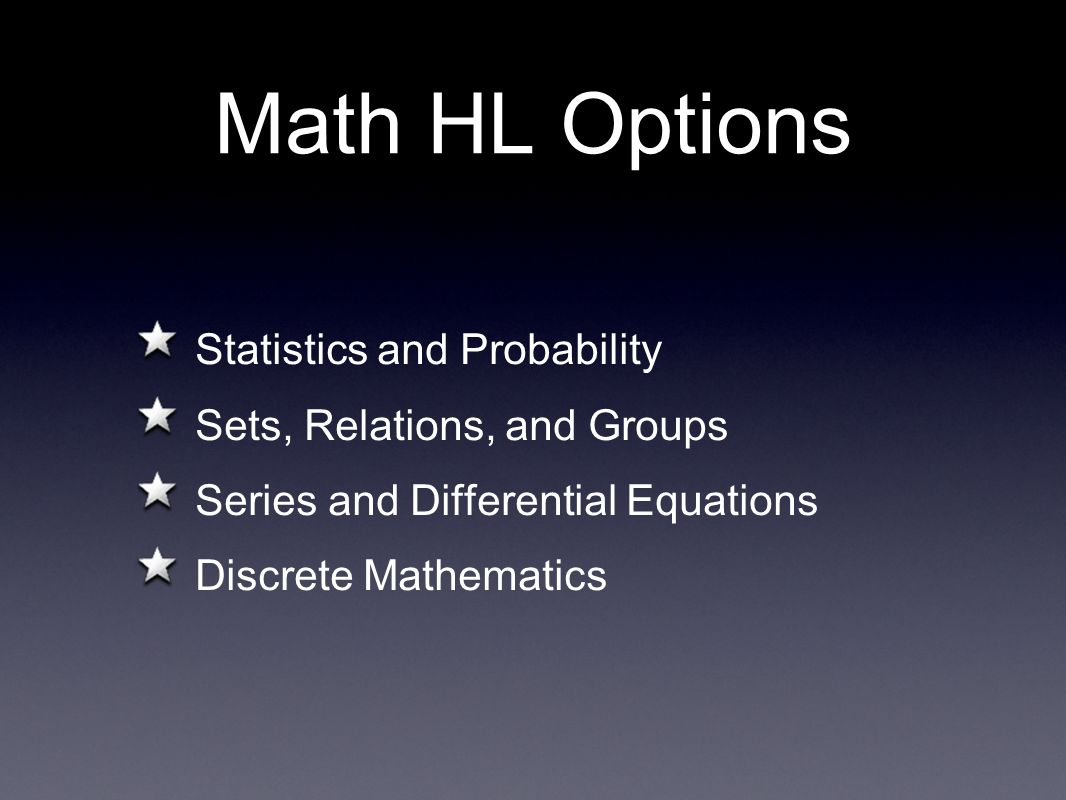 Math HL Options Statistics and Probability Sets, Relations, and Groups