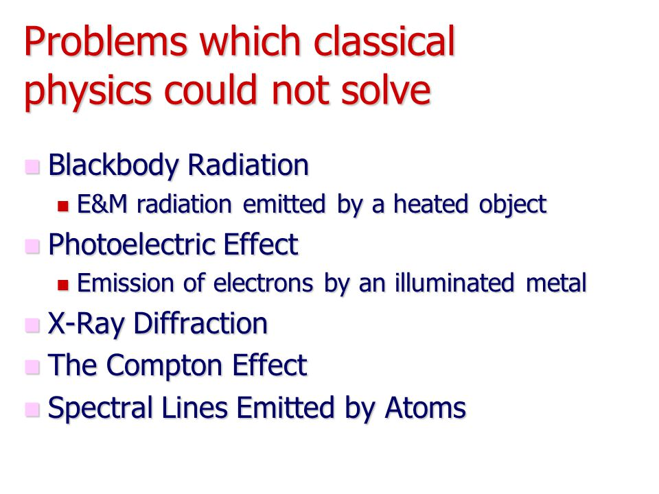 Problems which classical physics could not solve