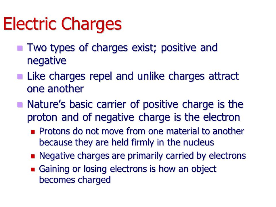 Electric Charges Two types of charges exist; positive and negative