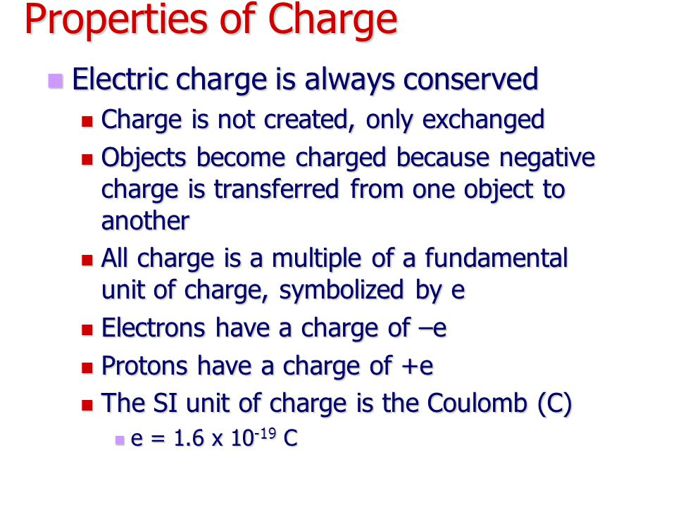 Properties of Charge Electric charge is always conserved
