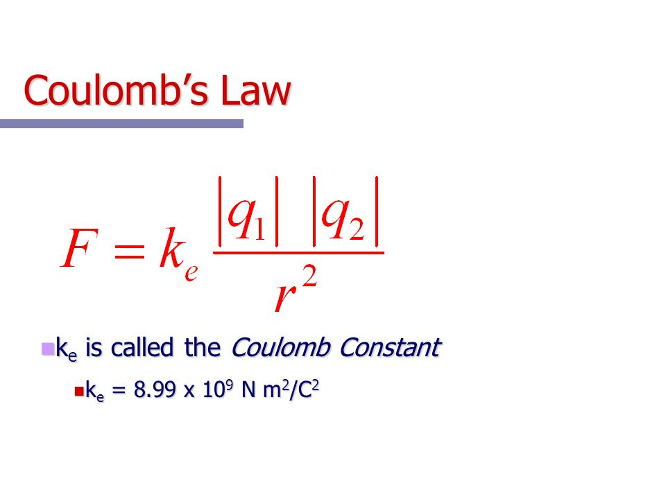 Coulomb's Law ke is called the Coulomb Constant