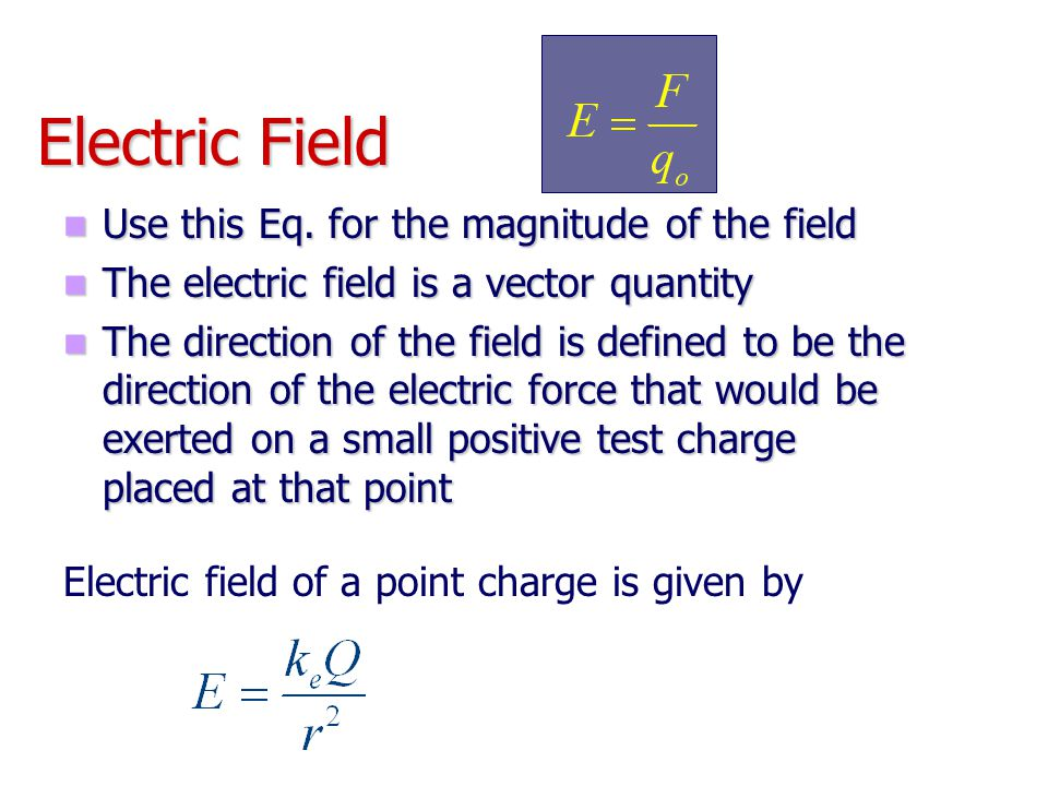 Electric Field Use this Eq. for the magnitude of the field