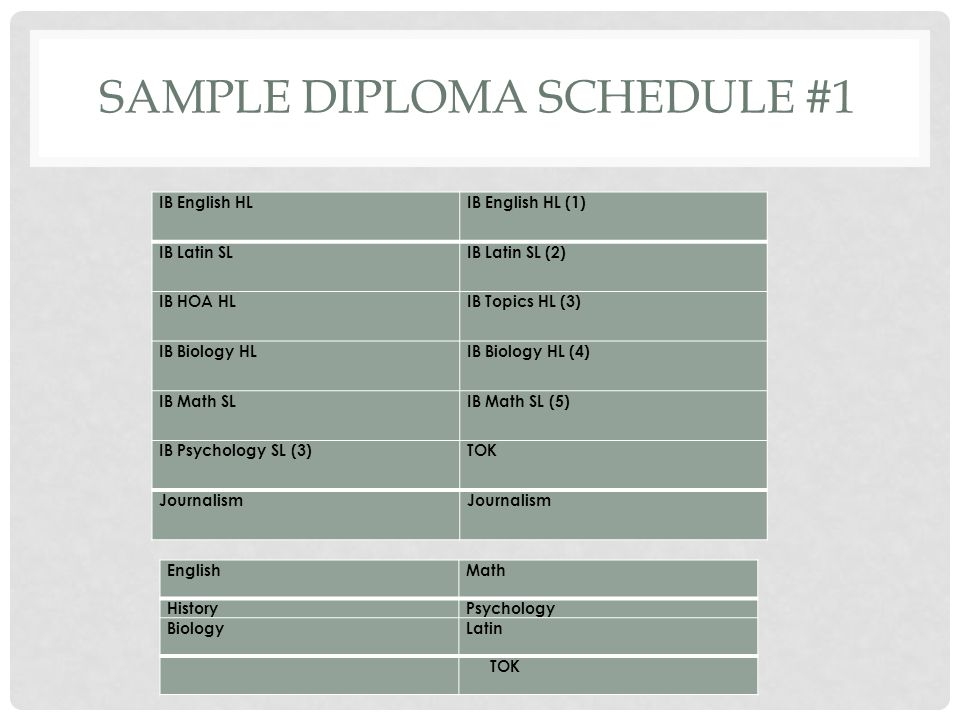 Sample diploma schedule #1