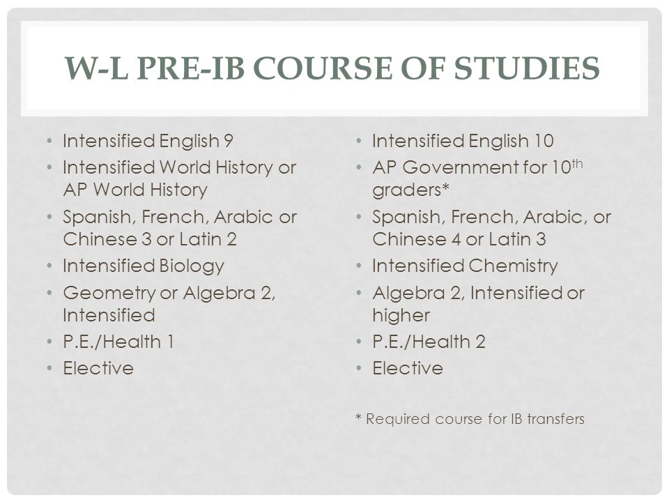 W-L Pre-IB Course of Studies