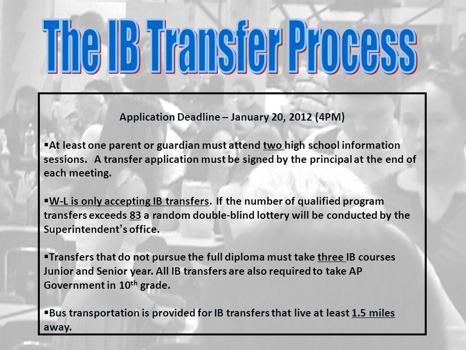 Application Deadline – January 20, 2012 (4PM)
