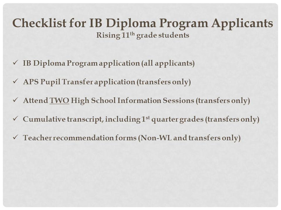Checklist for IB Diploma Program Applicants Rising 11th grade students