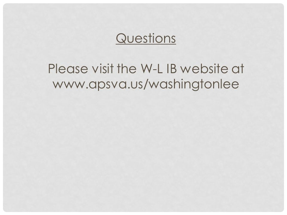 Please visit the W-L IB website at