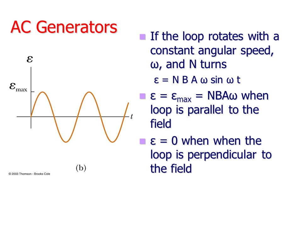AC Generators If the loop rotates with a constant angular speed, ω, and N turns. ε = N B A ω sin ω t.