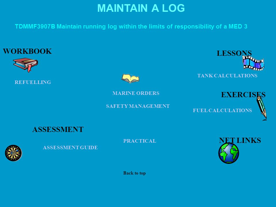 MAINTAIN A LOG WORKBOOK LESSONS EXERCISES ASSESSMENT NET LINKS