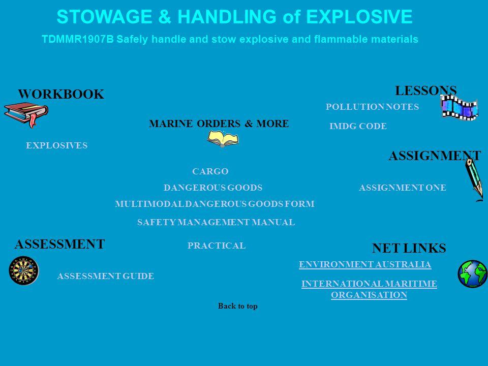 STOWAGE & HANDLING of EXPLOSIVE INTERNATIONAL MARITIME ORGANISATION