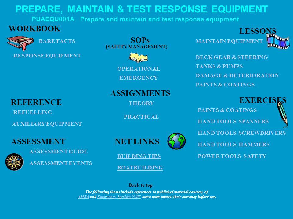 PREPARE, MAINTAIN & TEST RESPONSE EQUIPMENT