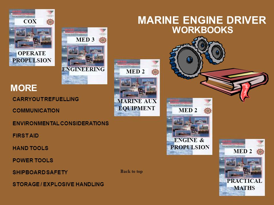 MARINE ENGINE DRIVER WORKBOOKS MORE COX MED 3 OPERATE PROPULSION