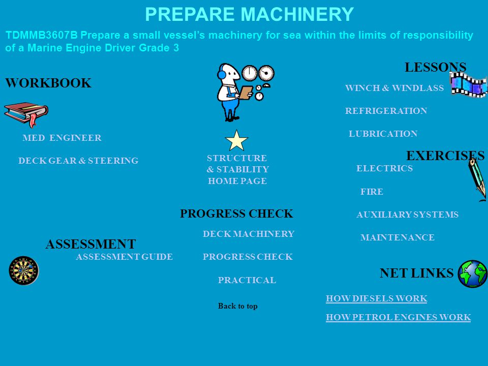 PREPARE MACHINERY LESSONS WORKBOOK EXERCISES ASSESSMENT NET LINKS