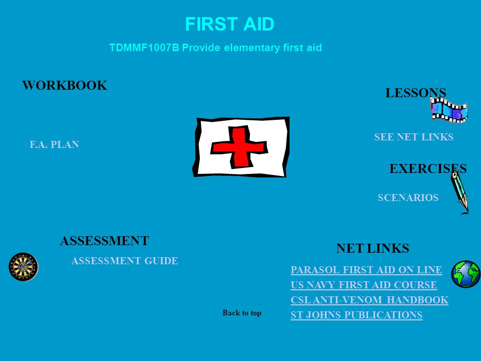 FIRST AID WORKBOOK LESSONS EXERCISES ASSESSMENT NET LINKS