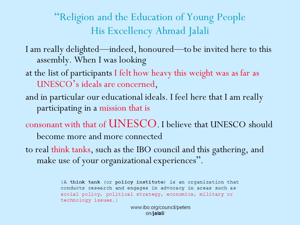 Religion and the Education of Young People His Excellency Ahmad Jalali