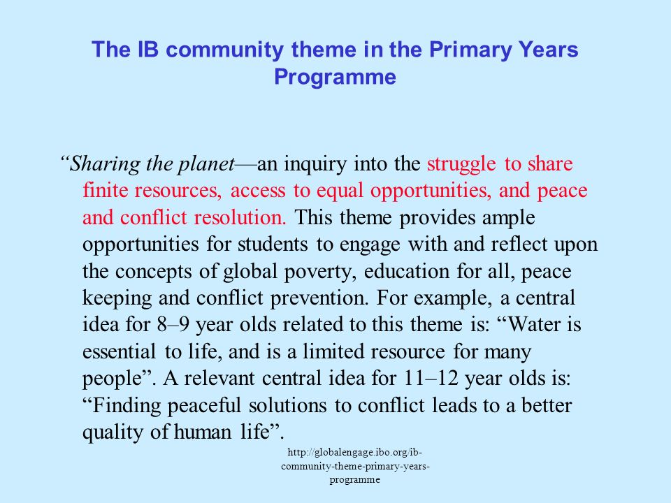 The IB community theme in the Primary Years Programme