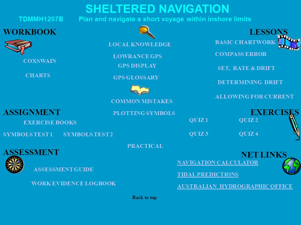SHELTERED NAVIGATION WORKBOOK LESSONS ASSIGNMENT EXERCISES ASSESSMENT
