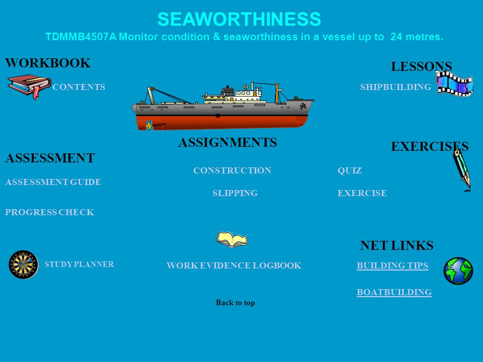 SEAWORTHINESS WORKBOOK LESSONS ASSIGNMENTS EXERCISES ASSESSMENT