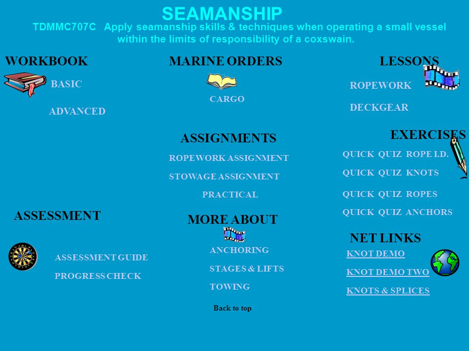 SEAMANSHIP WORKBOOK MARINE ORDERS LESSONS EXERCISES ASSIGNMENTS