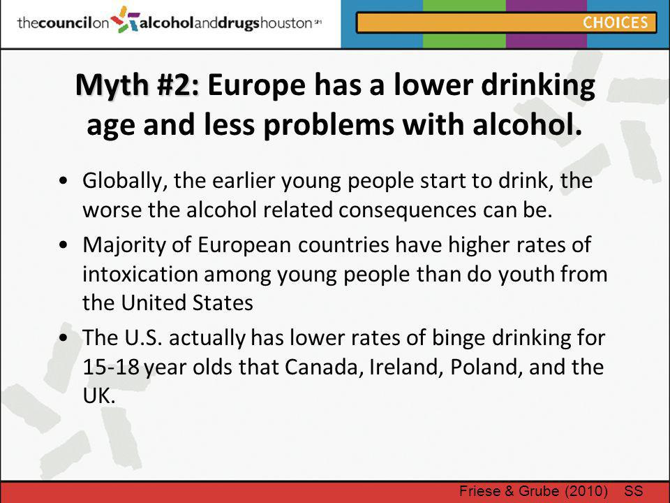 Myth #2: Europe has a lower drinking age and less problems with alcohol.